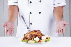 Peru grelhado apresentado cozinheiro chefe Fotografia de Stock