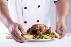 Peru grelhado apresentado cozinheiro chefe Fotografia de Stock Royalty Free