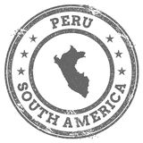 Peru grunge rubber stamp map and text. Stock Photo