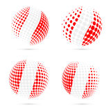 Peru halftone flag set patriotic vector design. 3D halftone sphere in Peru national flag colors isolated on white background Vector Illustration