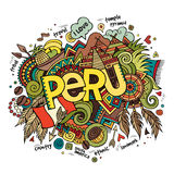 Peru hand lettering and doodles elements. Background. Vector illustration Stock Photography