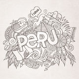 Peru hand lettering and doodles elements Stock Image