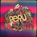 Peru hand lettering and doodles elements Stock Images
