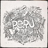 Peru hand lettering and doodles elements Royalty Free Stock Photography