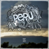 Peru hand lettering and doodles elements Stock Photos