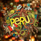 Peru hand lettering and doodles elements Royalty Free Stock Image