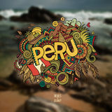 Peru hand lettering and doodles elements Royalty Free Stock Images