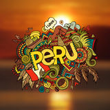 Peru hand lettering and doodles elements Stock Photo