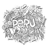 Peru hand lettering and doodles elements Royalty Free Stock Photo