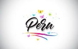 Peru Handwritten Vetora Word Text com borboletas e Swoosh colorido ilustração do vetor