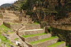 Peru, heiliges Tal, Ollantaytambo Inkafestung stockfotos