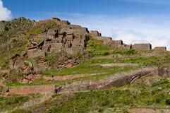 Peru, heiliges Tal, Pisaq Inkaruinen stockbild