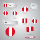 Peru icon set of flags Stock Photo