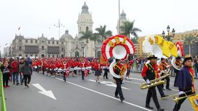 Peru independence day Parade in Lima. Peru July 2018 Exhibiting in parade to celebrate Peru independence day. Main Square of Lima Peru stock footage