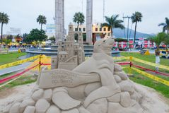 Weapons plaza and sand sculpture Chimbote Peru. Peru July 2018 Panorama of Weapon Plaza and sand sculpture in Chimbote town Peru royalty free stock image