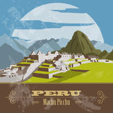 Peru  landmarks. Retro styled image. Vector illustration Royalty Free Stock Photos