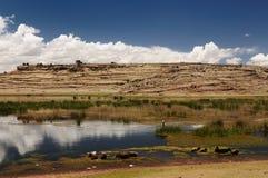 Peru landscape, beautyfull Umayo Lake near Puno Royalty Free Stock Photos