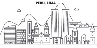 Peru, Lima architecture line skyline illustration. Linear vector cityscape with famous landmarks, city sights, design. Icons. Editable strokes Stock Photos