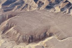 Peru Lines of Nasca, Aerial View, the Hummingbird. royalty free stock photo