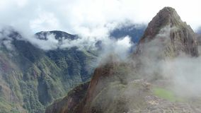 Peru Machu Picchu ancient inca ruin site Panorama with morning clouds. stock video