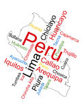 Peru Map and Cities. Peru map and words cloud with larger cities Royalty Free Stock Image