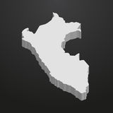 Peru map in gray on a black background 3d. Peru  map in gray on a black background 3d Royalty Free Stock Photos