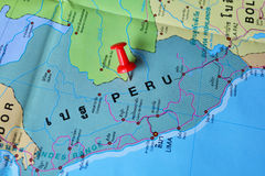 Peru map. Macro shot of peru map with push pin stock image