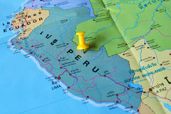 Peru map. Macro shot of peru map with push pin stock images