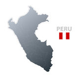 Peru map with official flag Stock Images