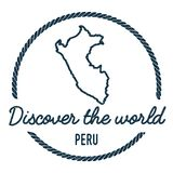 Peru Map Outline Le vintage découvrent le monde Photographie stock libre de droits