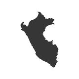 Peru map silhouette. On the white background. Vector illustration Stock Photo