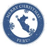 Peru map. Vintage Merry Christmas Peru Stamp. Stylised rubber stamp with county map and Merry Christmas text, vector illustration Royalty Free Stock Photos
