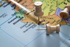 Peru marcado em um mapa imagens de stock royalty free