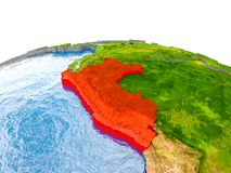 Peru on model of Earth. Peru highlighted in red on globe with realistic land surface, visible country borders and water in place of oceans. 3D illustration royalty free stock photos
