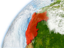 Peru on model of planet Earth Stock Image