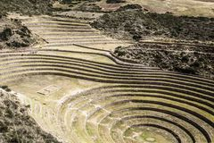 Peru, Moray, ancient Inca circular terraces. Probable there is the Incas laboratory of agriculture Royalty Free Stock Photos