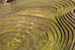 Peru, Moray, ancient Inca circular terraces. Probable there is the Incas laboratory of agriculture Stock Images