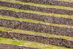 Peru, Moray, ancient Inca circular terraces. Probable there is the Incas laboratory of agriculture Royalty Free Stock Images