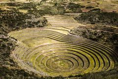 Peru, Moray, ancient Inca circular terraces. Probable there is the Incas laboratory of agriculture Stock Image