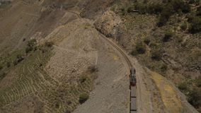 Peru Mountains Aerial. V11 Flying over train panning in Huarochiri Province stock video