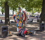 Peru musician singing in the park Royalty Free Stock Photos
