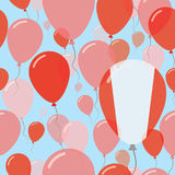 Peru National Day Flat Seamless Pattern. Flying Celebration Balloons in Colors of Peruvian Flag. Happy Independence Day Background with Flags and Balloons Royalty Free Stock Photos