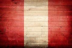 Peru national flag. Wood background royalty free stock image