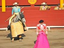 PERU - NOV. 2013: Picador en novillero. stock afbeelding