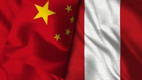 Peru och Kina flagga - flagga för illustration 3D royaltyfri illustrationer