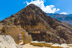 Peru, Ollantaytambo-Inca ruins of Sacred Valley in Andes mountains,South America. It was royal estate of Emperor who conquered during Inca Empire Stock Photography