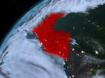 Peru op aarde in ruimte bij nacht Stock Afbeeldingen