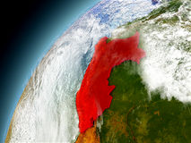 Peru from orbit of model Earth Royalty Free Stock Photo
