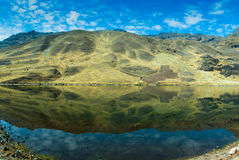 Peru. Vian Andes high mountains lake water reflection Stock Photo