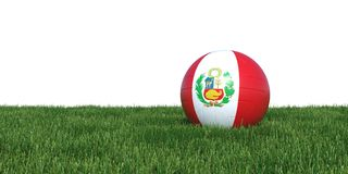 Peru Peruvian flag soccer ball lying in grass world cup 2018. Isolated on white background. 3D Rendering, Illustration Royalty Free Stock Images
